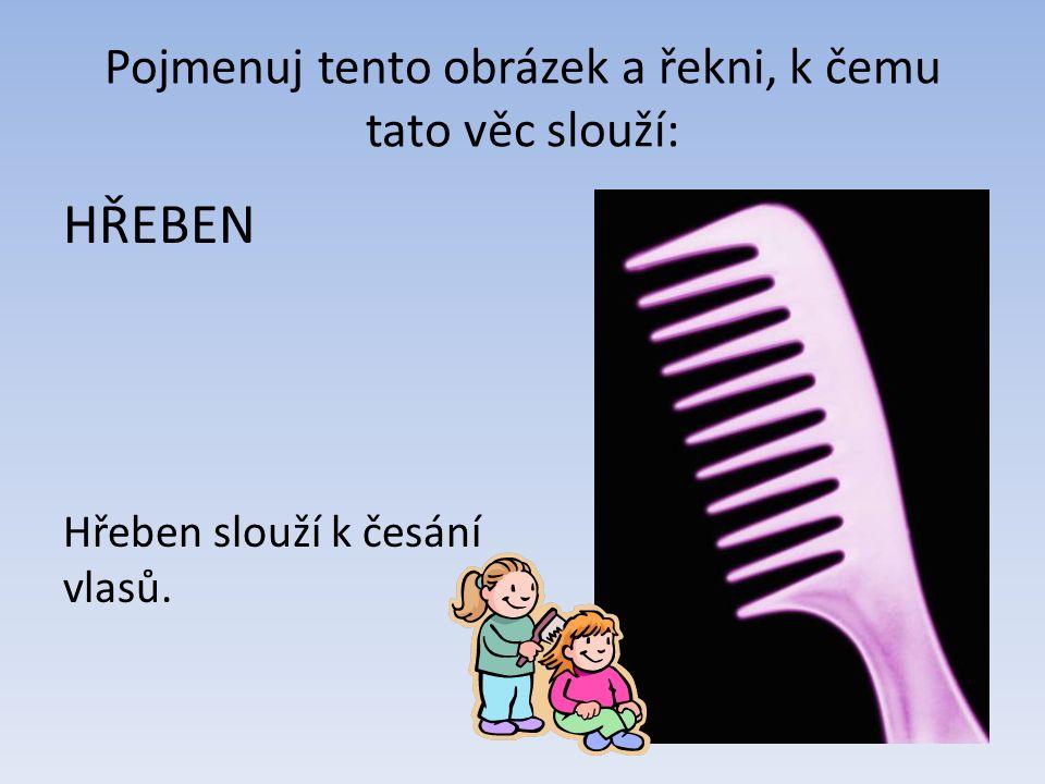 Pojmenuj tento obrázek a řekni, k čemu tato věc slouží: HŘEBEN Hřeben slouží k česání vlasů.