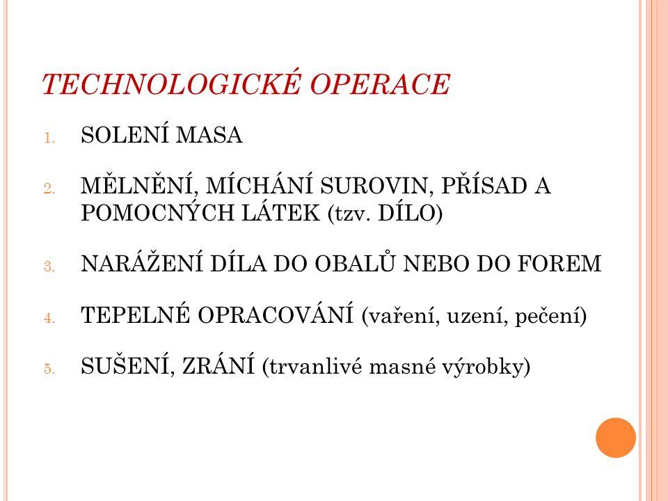 TECHNOLOGICKÉ OPERACE 1. SOLENÍ MASA 2. MĚLNĚNÍ, MÍCHÁNÍ SUROVIN, PŘÍSAD A POMOCNÝCH LÁTEK (tzv.