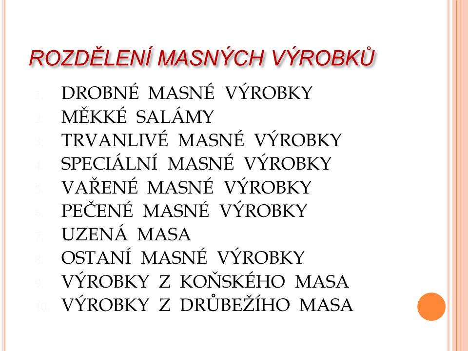ROZDĚLENÍ MASNÝCH VÝROBKŮ 1. DROBNÉ MASNÉ VÝROBKY 2.