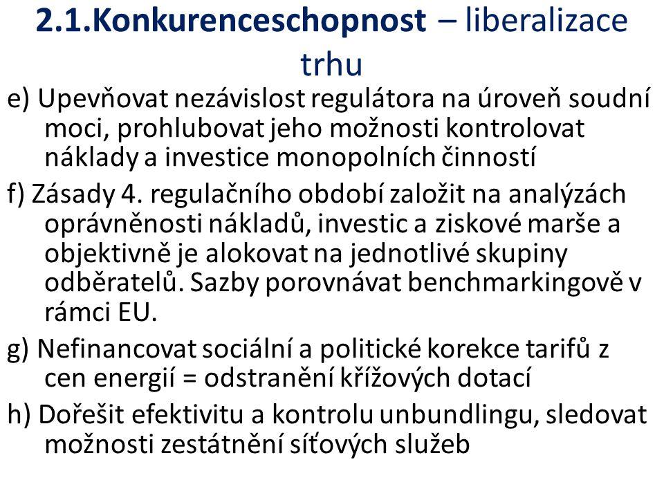 2.1.Konkurenceschopnost – liberalizace trhu e) Upevňovat nezávislost regulátora na úroveň soudní moci, prohlubovat jeho možnosti kontrolovat náklady a investice monopolních činností f) Zásady 4.