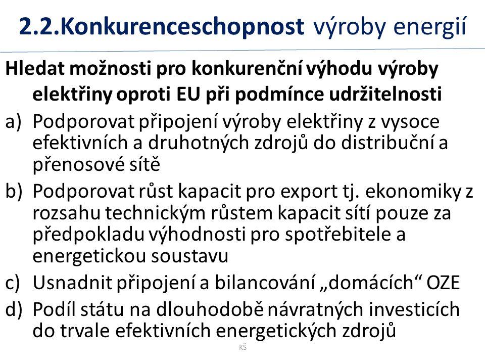 2.2.Konkurenceschopnost výroby energií Hledat možnosti pro konkurenční výhodu výroby elektřiny oproti EU při podmínce udržitelnosti a)Podporovat připojení výroby elektřiny z vysoce efektivních a druhotných zdrojů do distribuční a přenosové sítě b)Podporovat růst kapacit pro export tj.
