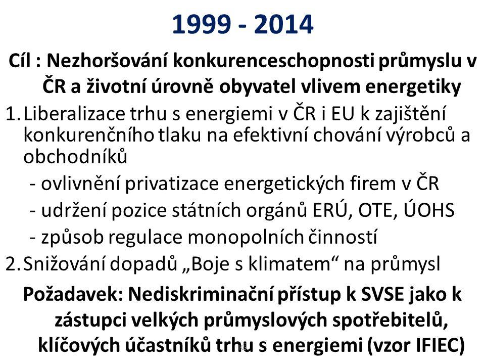 1999 - 2014 Cíl : Nezhoršování konkurenceschopnosti průmyslu v ČR a životní úrovně obyvatel vlivem energetiky 1.Liberalizace trhu s energiemi v ČR i E