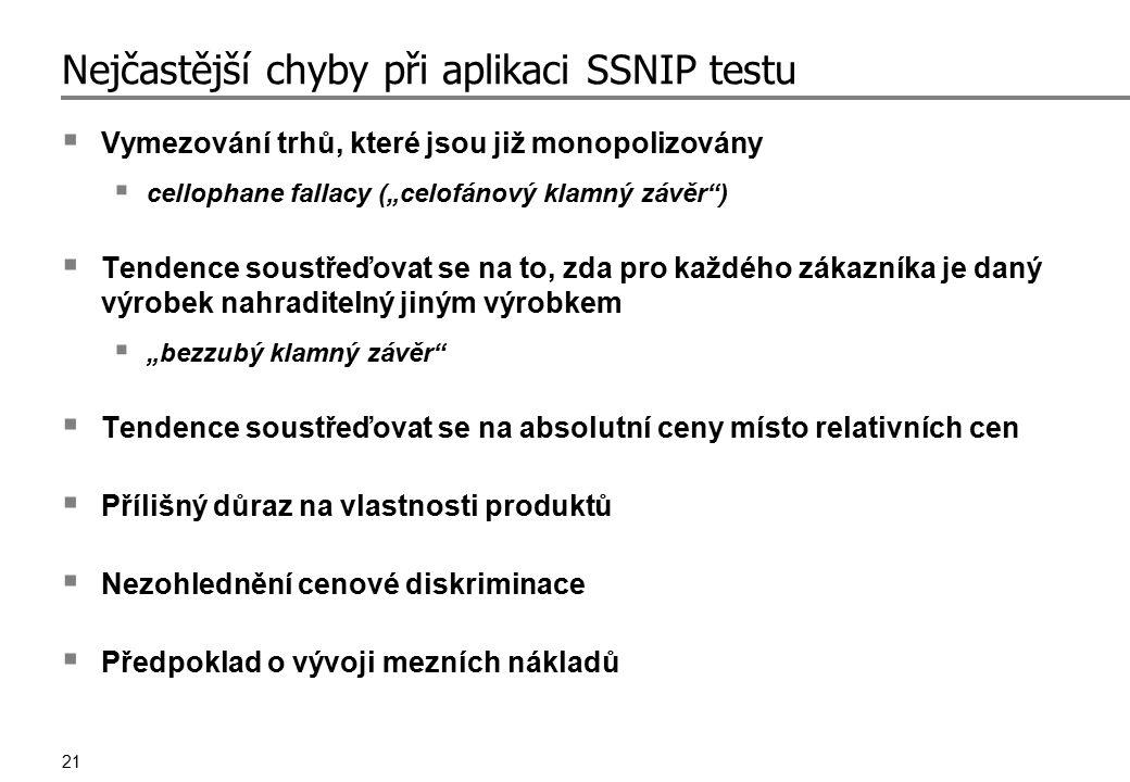 """21 Nejčastější chyby při aplikaci SSNIP testu  Vymezování trhů, které jsou již monopolizovány  cellophane fallacy (""""celofánový klamný závěr"""")  Tend"""