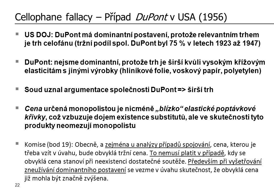 22 Cellophane fallacy – Případ DuPont v USA (1956)  US DOJ: DuPont má dominantní postavení, protože relevantním trhem je trh celofánu (tržní podíl sp