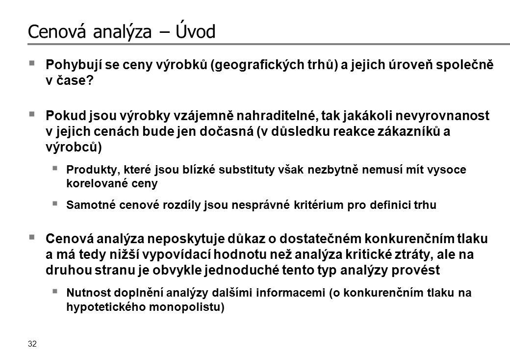32 Cenová analýza – Úvod  Pohybují se ceny výrobků (geografických trhů) a jejich úroveň společně v čase?  Pokud jsou výrobky vzájemně nahraditelné,