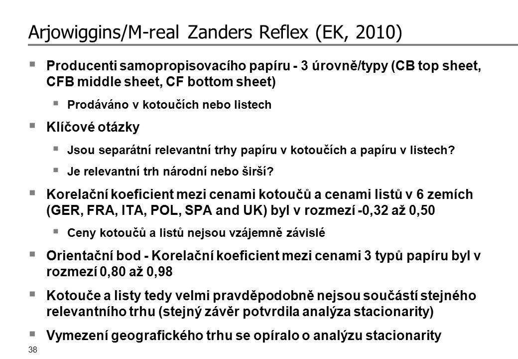 38 Arjowiggins/M-real Zanders Reflex (EK, 2010)  Producenti samopropisovacího papíru - 3 úrovně/typy (CB top sheet, CFB middle sheet, CF bottom sheet