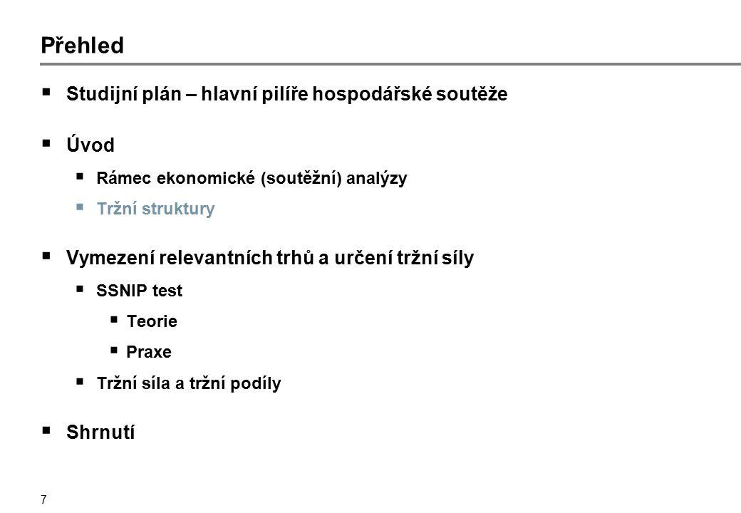 7 Přehled  Studijní plán – hlavní pilíře hospodářské soutěže  Úvod  Rámec ekonomické (soutěžní) analýzy  Tržní struktury  Vymezení relevantních t