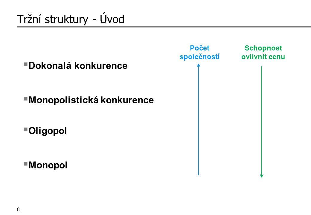 8 Tržní struktury - Úvod  Dokonalá konkurence  Monopolistická konkurence  Oligopol  Monopol Počet společností Schopnost ovlivnit cenu