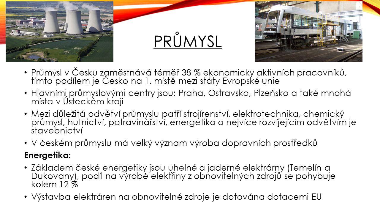 PRŮMYSL Průmysl v Česku zaměstnává téměř 38 % ekonomicky aktivních pracovníků, tímto podílem je Česko na 1. místě mezi státy Evropské unie Hlavními pr