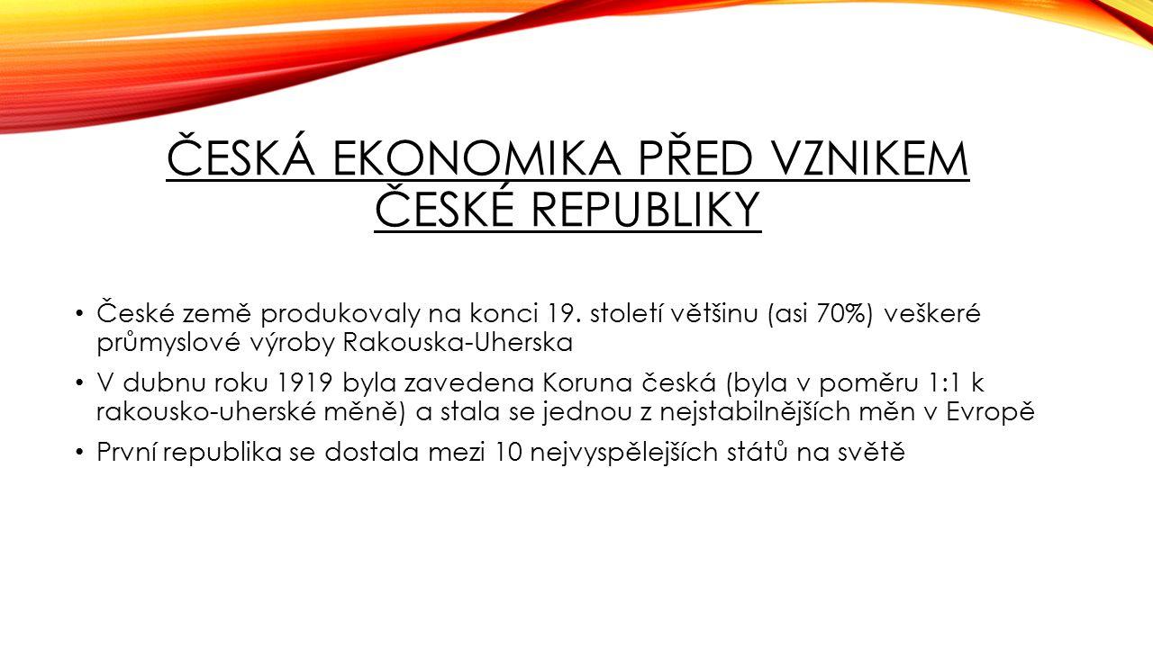 ČESKÁ EKONOMIKA PŘED VZNIKEM ČESKÉ REPUBLIKY České země produkovaly na konci 19. století většinu (asi 70%) veškeré průmyslové výroby Rakouska-Uherska