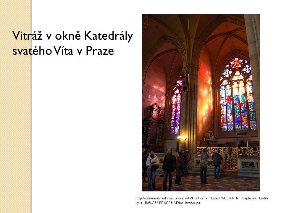 Vitráž z francouzského slova vitrail = zasklení, prosklená plocha výtvarně ztvárněná skleněná mozaiková výplň skládaná do olova z obvykle barevných, často i malovaných malých skel používá se místo skleněných tabulí, např.