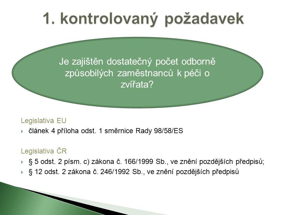 Legislativa EU  článek 4 příloha odst. 1 směrnice Rady 98/58/ES Legislativa ČR  § 5 odst.