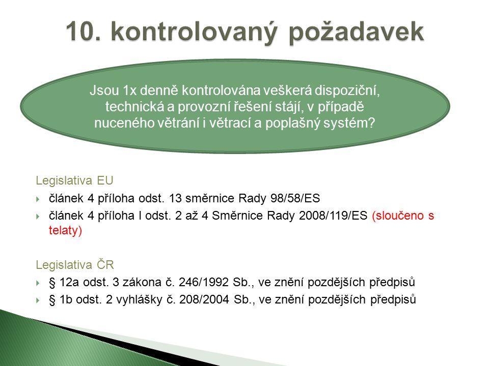 Legislativa EU  článek 4 příloha odst. 13 směrnice Rady 98/58/ES  článek 4 příloha I odst.