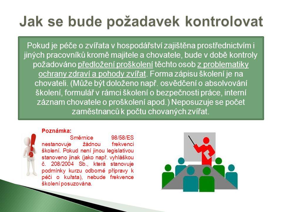 Legislativa EU  článek 4 příloha odst.18 až 21 směrnice Rady 98/58/ES Legislativa ČR  § 5 odst.