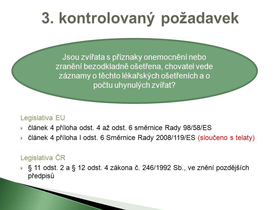 Legislativa EU  článek 4 příloha odst.13 směrnice Rady 98/58/ES  článek 4 příloha I odst.