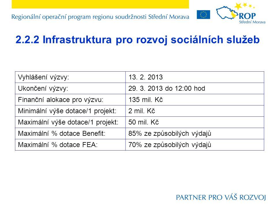 2.2.2 Infrastruktura pro rozvoj sociálních služeb Vyhlášení výzvy:13. 2. 2013 Ukončení výzvy:29. 3. 2013 do 12:00 hod Finanční alokace pro výzvu:135 m