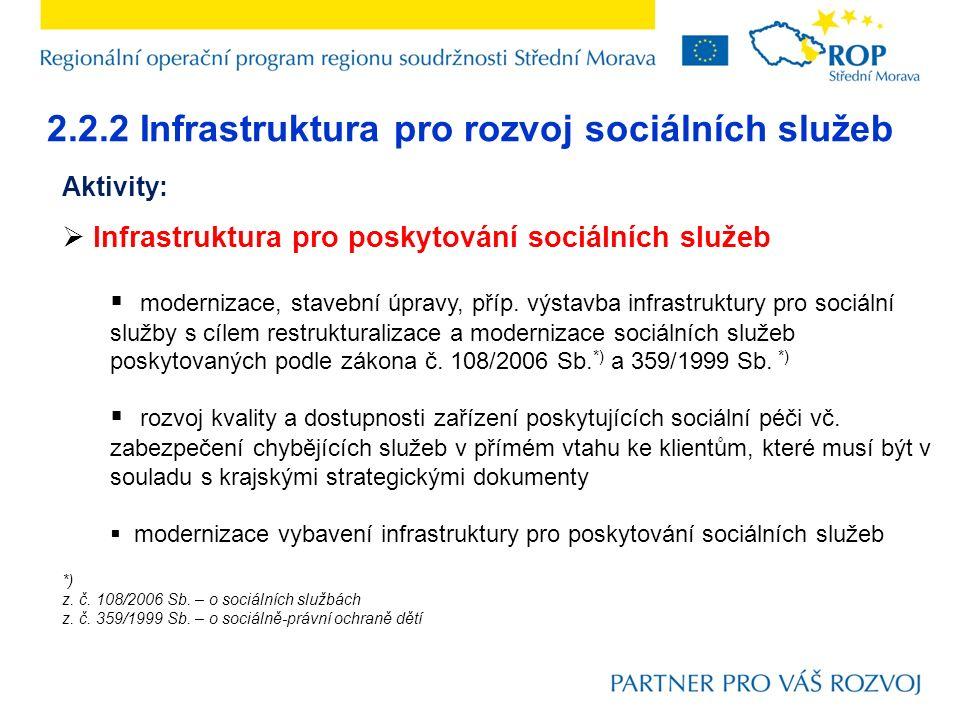 2.2.2 Infrastruktura pro rozvoj sociálních služeb Aktivity:  Infrastruktura pro poskytování sociálních služeb  modernizace, stavební úpravy, příp. v