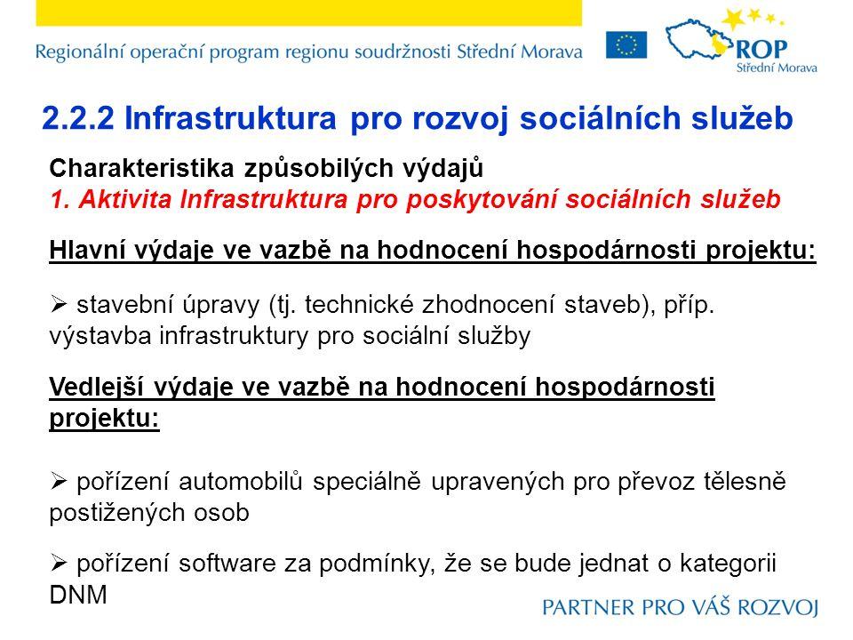2.2.2 Infrastruktura pro rozvoj sociálních služeb Charakteristika způsobilých výdajů 1. Aktivita Infrastruktura pro poskytování sociálních služeb Hlav