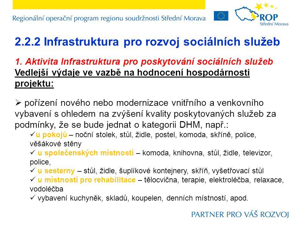 2.2.2 Infrastruktura pro rozvoj sociálních služeb 1. Aktivita Infrastruktura pro poskytování sociálních služeb Vedlejší výdaje ve vazbě na hodnocení h