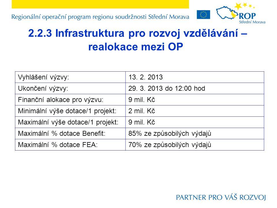 2.2.3 Infrastruktura pro rozvoj vzdělávání – realokace mezi OP Vyhlášení výzvy:13. 2. 2013 Ukončení výzvy:29. 3. 2013 do 12:00 hod Finanční alokace pr