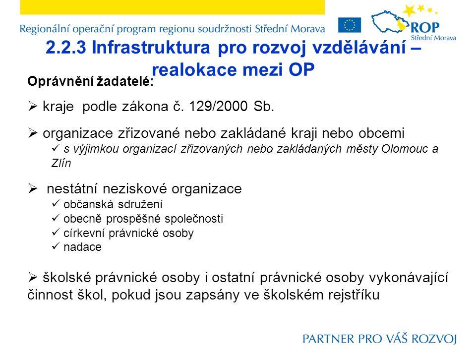 2.2.3 Infrastruktura pro rozvoj vzdělávání – realokace mezi OP Oprávnění žadatelé:  kraje podle zákona č. 129/2000 Sb.  organizace zřizované nebo za