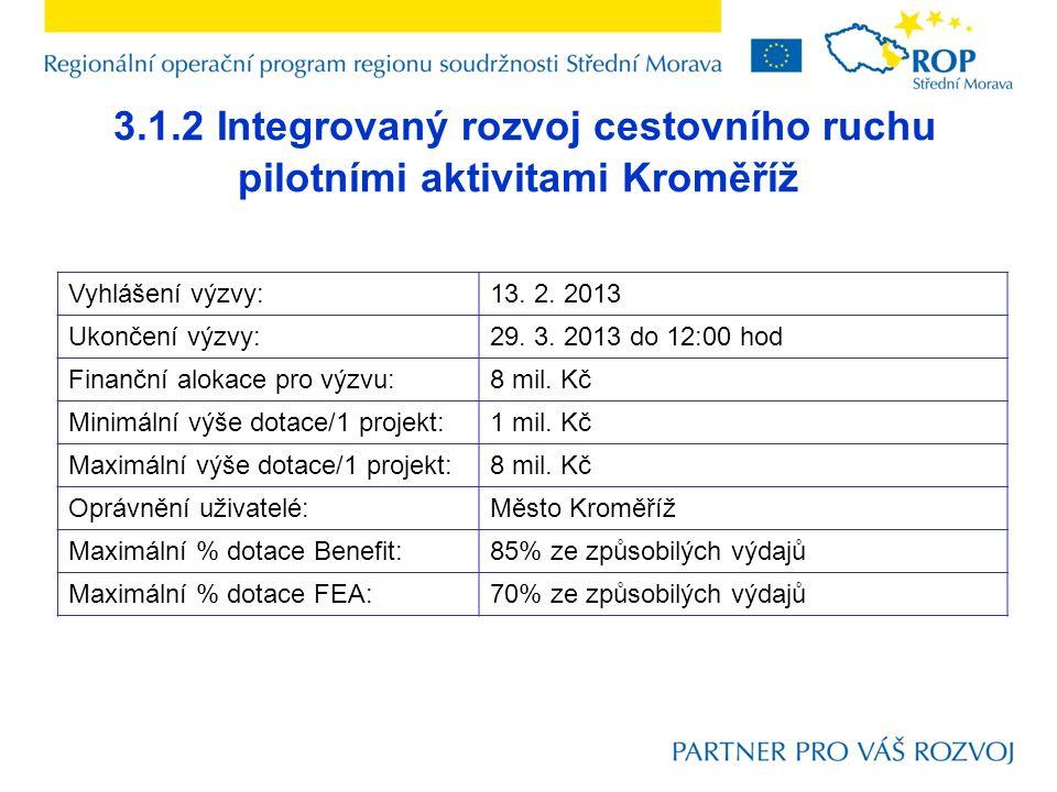 3.1.2 Integrovaný rozvoj cestovního ruchu pilotními aktivitami Kroměříž Vyhlášení výzvy:13. 2. 2013 Ukončení výzvy:29. 3. 2013 do 12:00 hod Finanční a