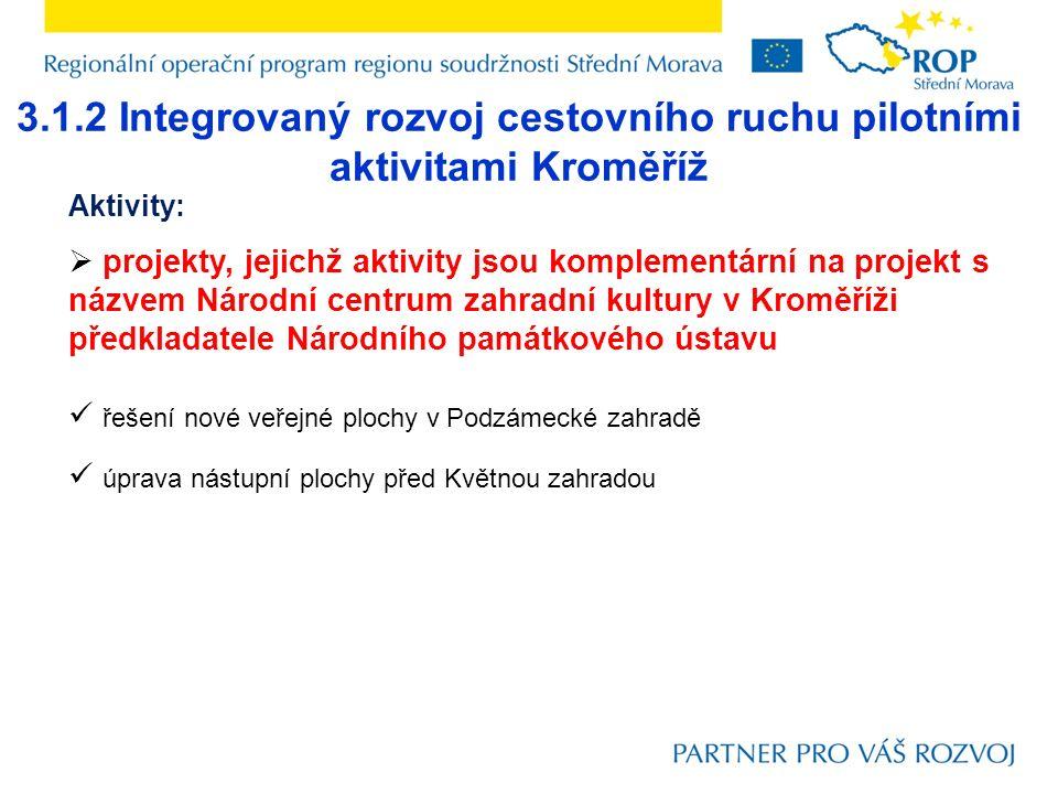 3.1.2 Integrovaný rozvoj cestovního ruchu pilotními aktivitami Kroměříž Aktivity:  projekty, jejichž aktivity jsou komplementární na projekt s názvem