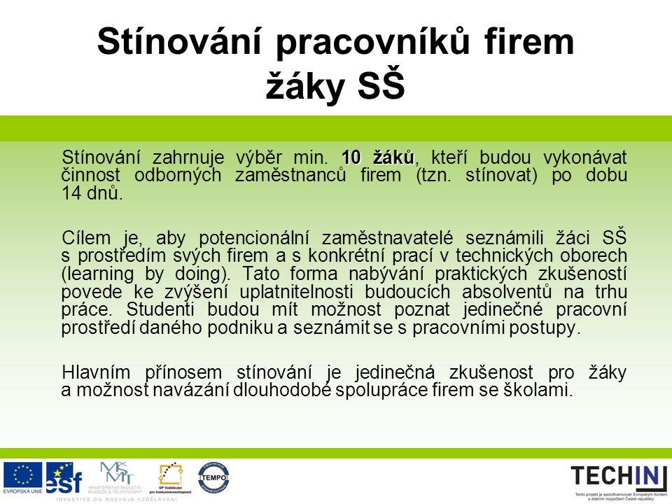 Stínování pracovníků firem žáky SŠ 10 žáků Stínování zahrnuje výběr min. 10 žáků, kteří budou vykonávat činnost odborných zaměstnanců firem (tzn. stín