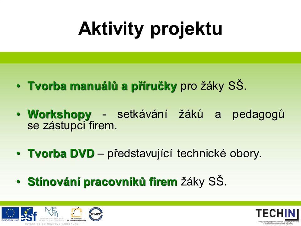 Aktivity projektu Tvorba manuálů a příručkyTvorba manuálů a příručky pro žáky SŠ.