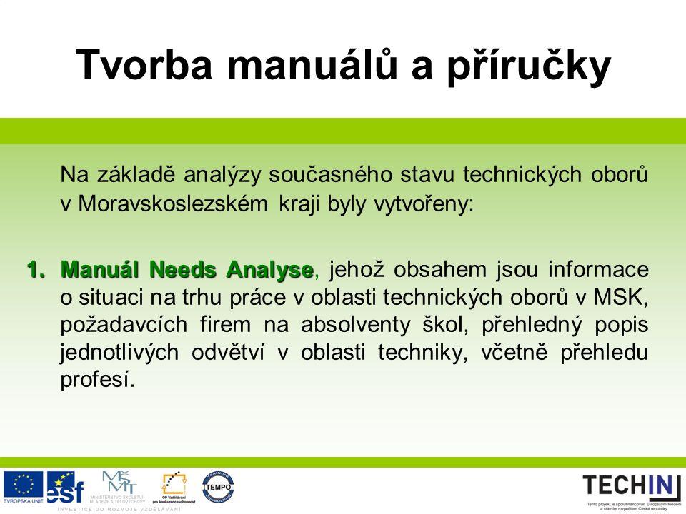 Tvorba manuálů a příručky Na základě analýzy současného stavu technických oborů v Moravskoslezském kraji byly vytvořeny: 1.Manuál Needs Analyse 1.Manu