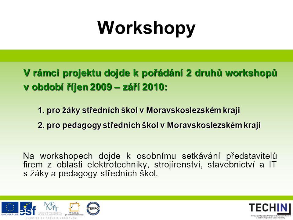 Workshopy V rámci projektu dojde k pořádání 2 druhů workshopů v období říjen 2009 – září 2010: 1. pro žáky středních škol v Moravskoslezském kraji 2.