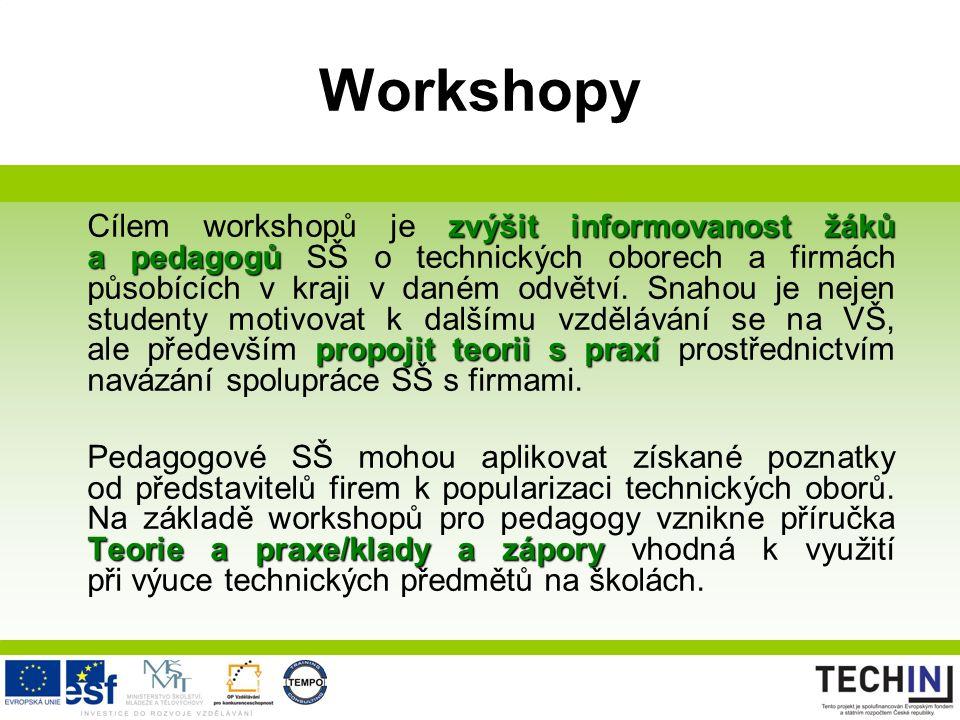 Workshopy zvýšit informovanost žáků a pedagogů propojit teorii s praxí Cílem workshopů je zvýšit informovanost žáků a pedagogů SŠ o technických oborech a firmách působících v kraji v daném odvětví.