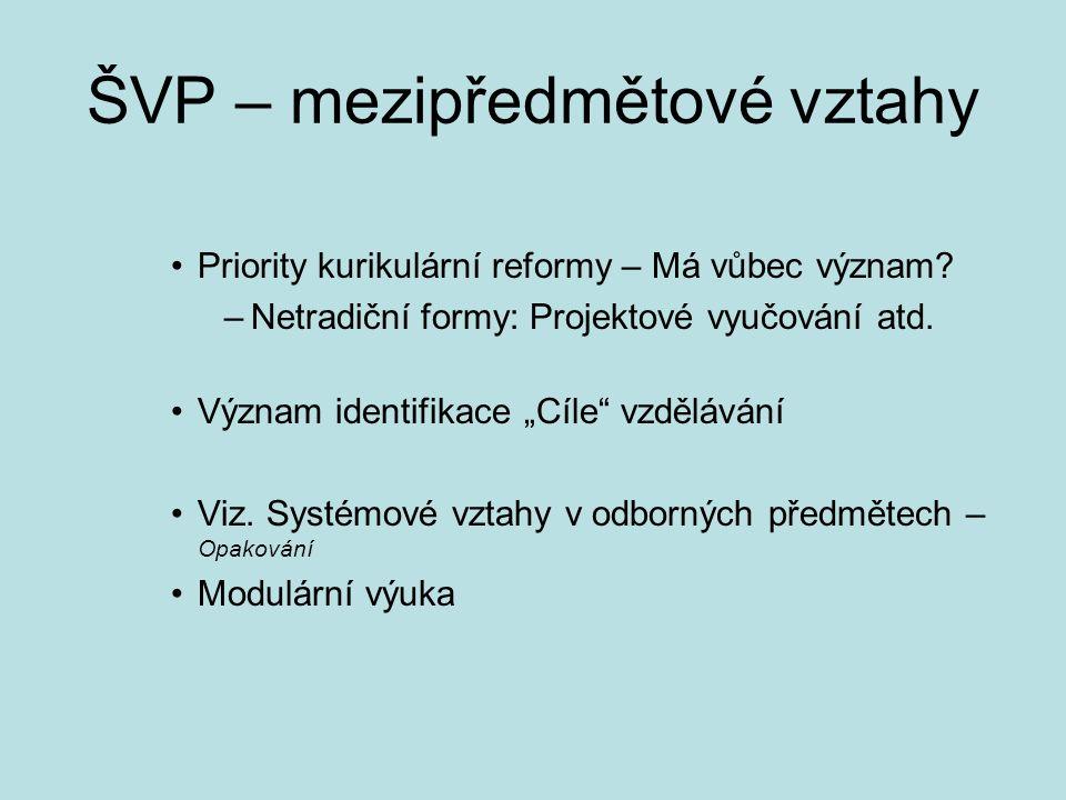 ŠVP – mezipředmětové vztahy Priority kurikulární reformy – Má vůbec význam.