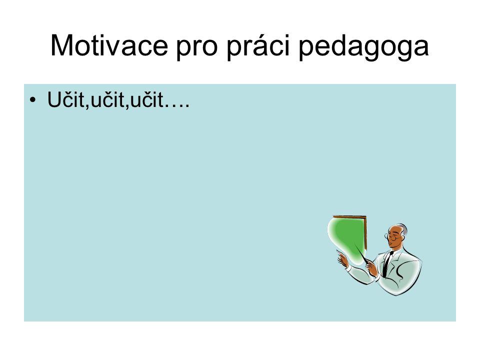 Motivace pro práci pedagoga Učit,učit,učit….