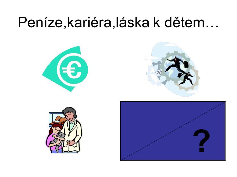 Peníze,kariéra,láska k dětem… ?