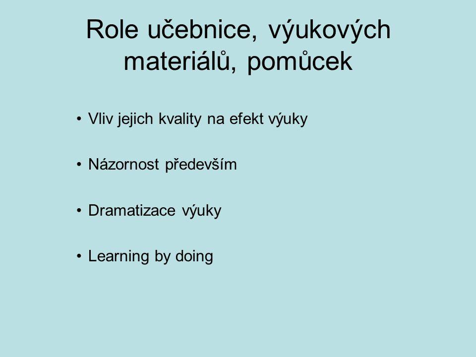 Role učebnice, výukových materiálů, pomůcek Vliv jejich kvality na efekt výuky Názornost především Dramatizace výuky Learning by doing