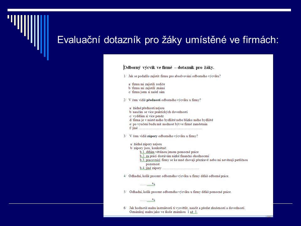 Evaluační dotazník pro žáky umístěné ve firmách: