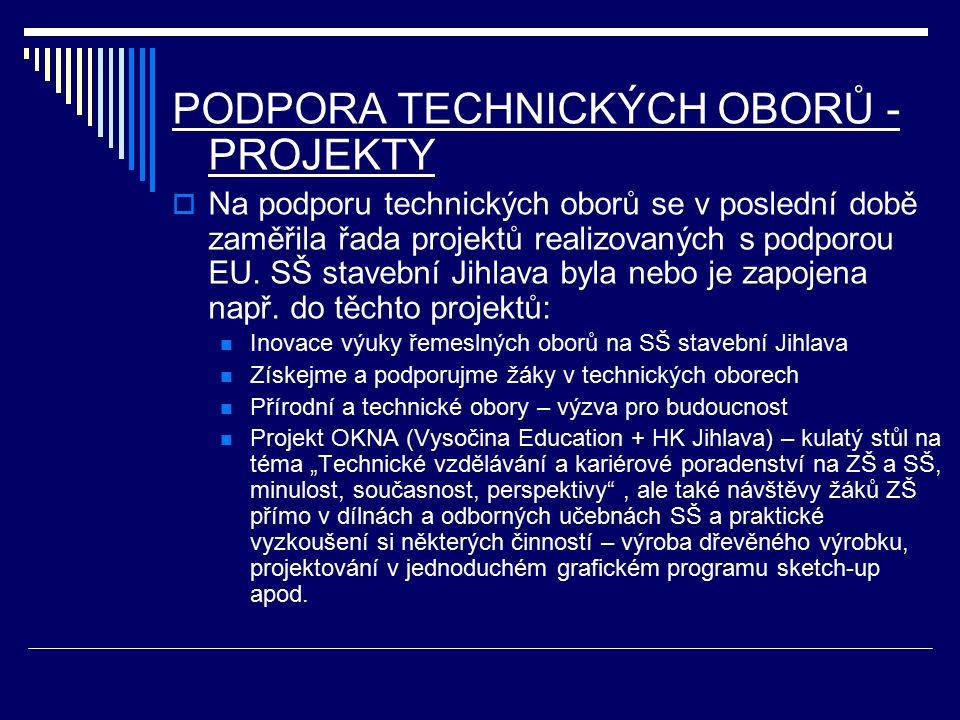 PODPORA TECHNICKÝCH OBORŮ - PROJEKTY  Na podporu technických oborů se v poslední době zaměřila řada projektů realizovaných s podporou EU.