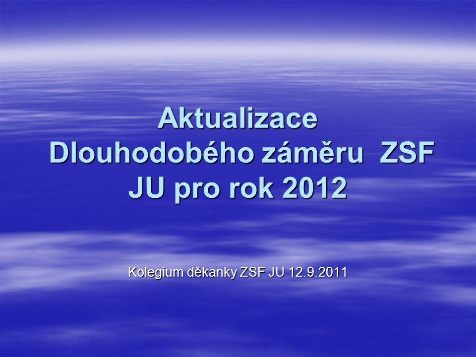 Aktualizace Dlouhodobého záměru ZSF JU pro rok 2012 Kolegium děkanky ZSF JU 12.9.2011
