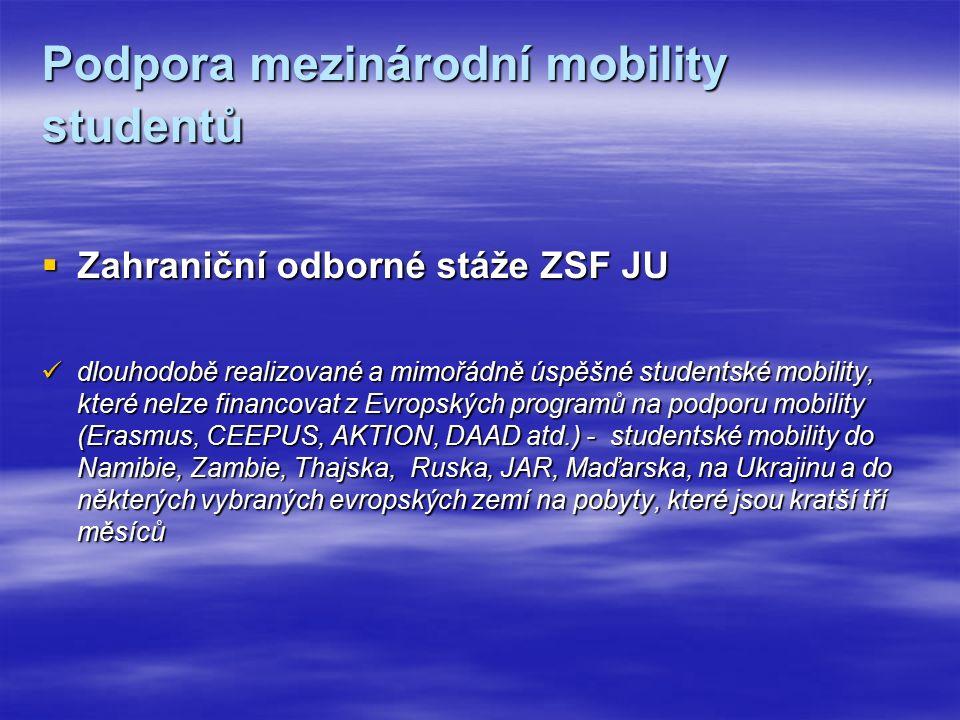 Podpora mezinárodní mobility studentů  Zahraniční odborné stáže ZSF JU dlouhodobě realizované a mimořádně úspěšné studentské mobility, které nelze financovat z Evropských programů na podporu mobility (Erasmus, CEEPUS, AKTION, DAAD atd.) - studentské mobility do Namibie, Zambie, Thajska, Ruska, JAR, Maďarska, na Ukrajinu a do některých vybraných evropských zemí na pobyty, které jsou kratší tří měsíců dlouhodobě realizované a mimořádně úspěšné studentské mobility, které nelze financovat z Evropských programů na podporu mobility (Erasmus, CEEPUS, AKTION, DAAD atd.) - studentské mobility do Namibie, Zambie, Thajska, Ruska, JAR, Maďarska, na Ukrajinu a do některých vybraných evropských zemí na pobyty, které jsou kratší tří měsíců
