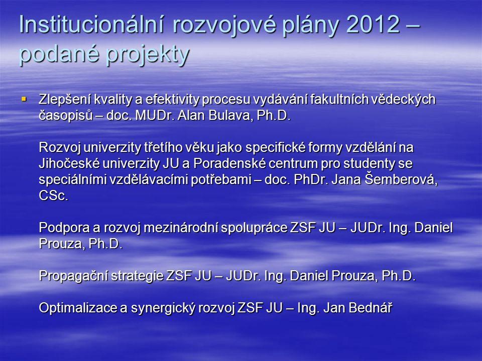 Institucionální rozvojové plány 2012 – podané projekty  Zlepšení kvality a efektivity procesu vydávání fakultních vědeckých časopisů – doc.