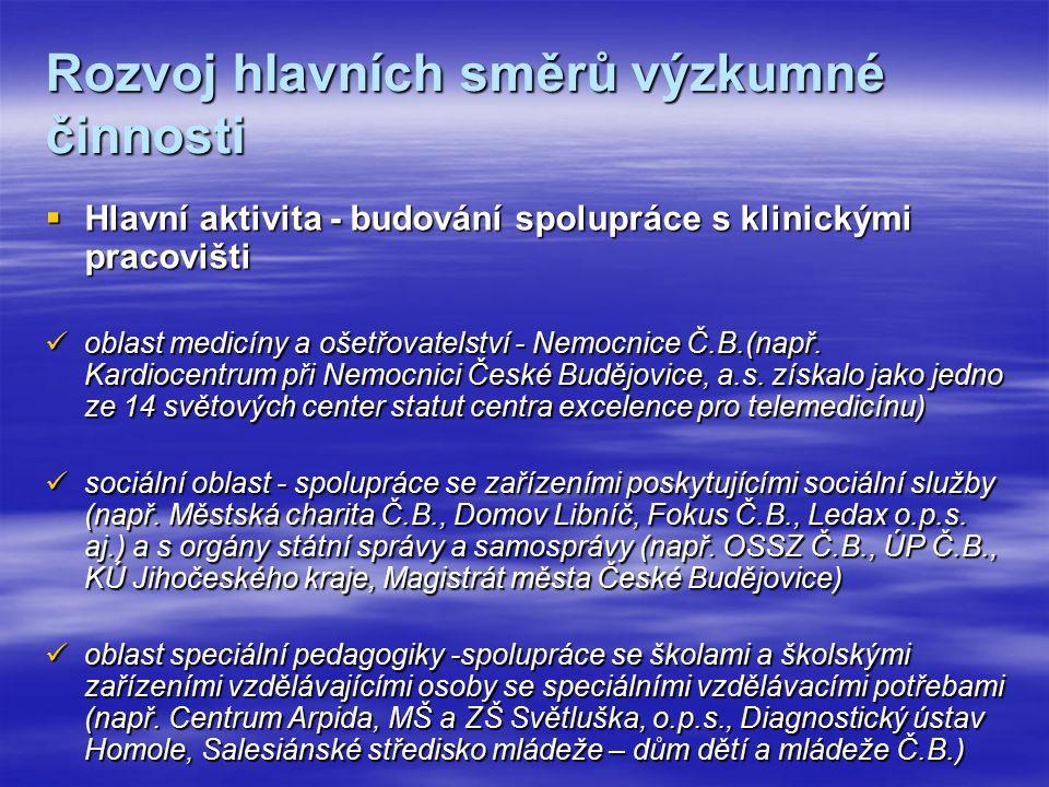 Rozvoj hlavních směrů výzkumné činnosti  Hlavní aktivita - budování spolupráce s klinickými pracovišti oblast medicíny a ošetřovatelství - Nemocnice Č.B.(např.