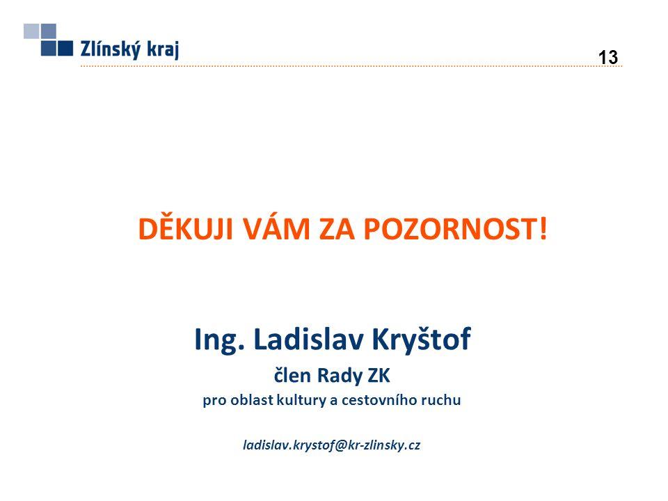 Ing. Ladislav Kryštof člen Rady ZK pro oblast kultury a cestovního ruchu ladislav.krystof@kr-zlinsky.cz DĚKUJI VÁM ZA POZORNOST! 13