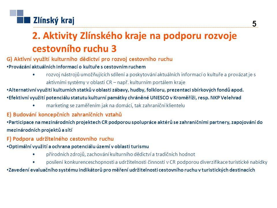 2. Aktivity Zlínského kraje na podporu rozvoje cestovního ruchu 3 G) Aktivní využití kulturního dědictví pro rozvoj cestovního ruchu Provázání aktuáln