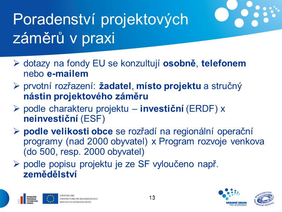13 Poradenství projektových záměrů v praxi  dotazy na fondy EU se konzultují osobně, telefonem nebo e-mailem  prvotní rozřazení: žadatel, místo projektu a stručný nástin projektového záměru  podle charakteru projektu – investiční (ERDF) x neinvestiční (ESF)  podle velikosti obce se rozřadí na regionální operační programy (nad 2000 obyvatel) x Program rozvoje venkova (do 500, resp.