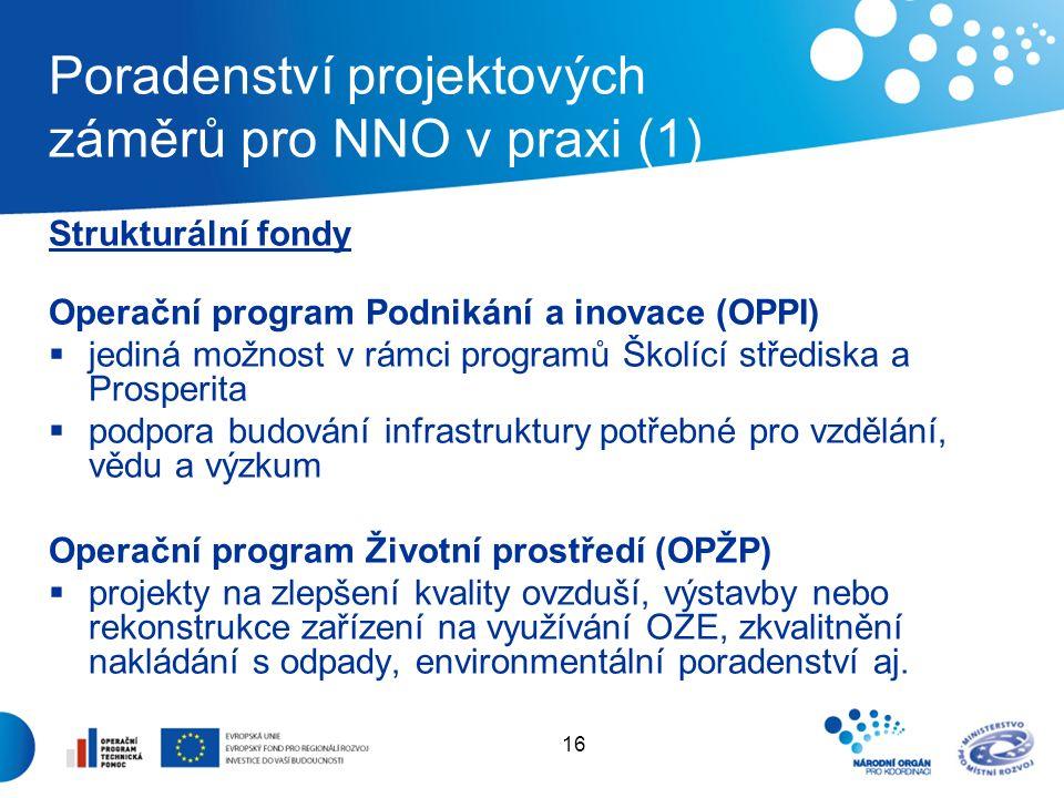 16 Poradenství projektových záměrů pro NNO v praxi (1) Strukturální fondy Operační program Podnikání a inovace (OPPI)  jediná možnost v rámci programů Školící střediska a Prosperita  podpora budování infrastruktury potřebné pro vzdělání, vědu a výzkum Operační program Životní prostředí (OPŽP)  projekty na zlepšení kvality ovzduší, výstavby nebo rekonstrukce zařízení na využívání OZE, zkvalitnění nakládání s odpady, environmentální poradenství aj.