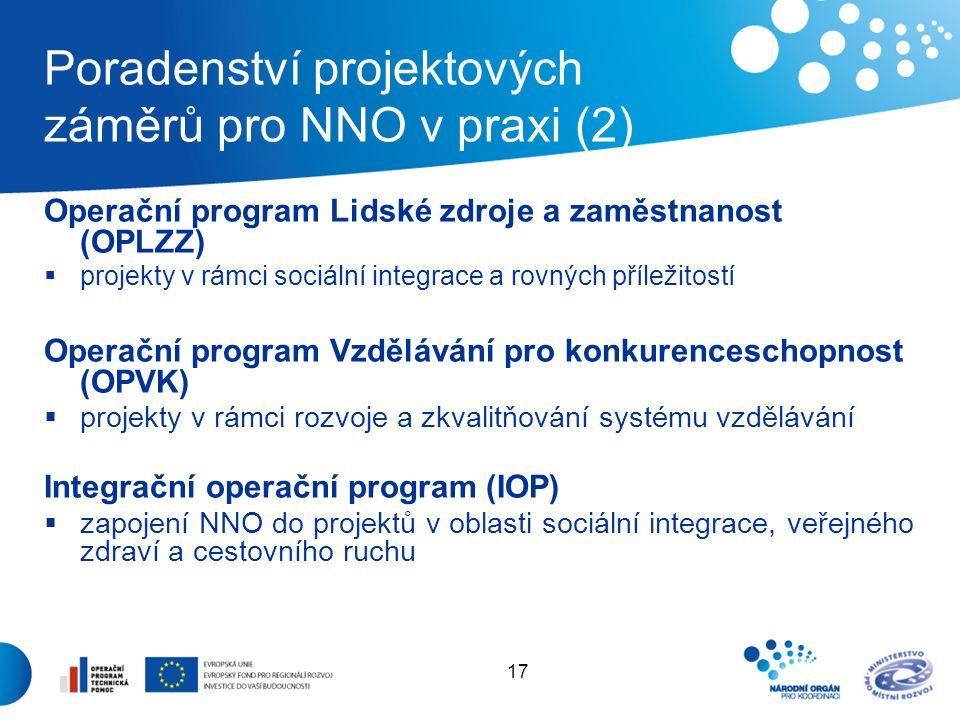17 Poradenství projektových záměrů pro NNO v praxi (2) Operační program Lidské zdroje a zaměstnanost (OPLZZ)  projekty v rámci sociální integrace a rovných příležitostí Operační program Vzdělávání pro konkurenceschopnost (OPVK)  projekty v rámci rozvoje a zkvalitňování systému vzdělávání Integrační operační program (IOP)  zapojení NNO do projektů v oblasti sociální integrace, veřejného zdraví a cestovního ruchu