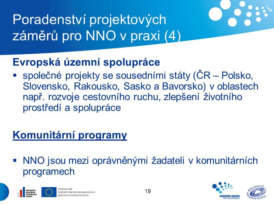 19 Poradenství projektových záměrů pro NNO v praxi (4) Evropská územní spolupráce  společné projekty se sousedními státy (ČR – Polsko, Slovensko, Rakousko, Sasko a Bavorsko) v oblastech např.