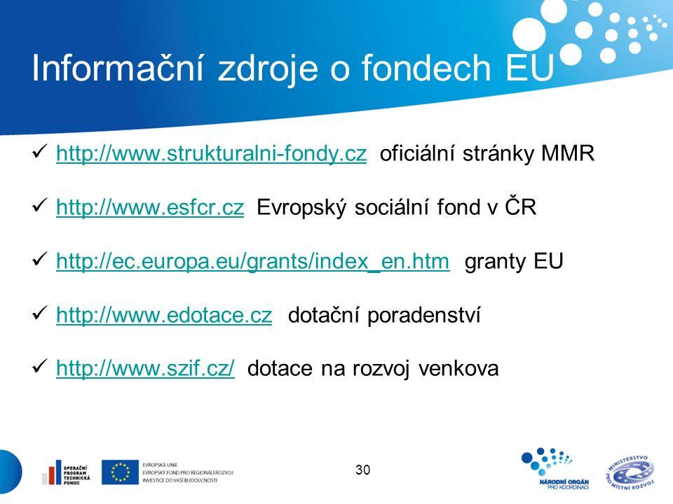 30 Informační zdroje o fondech EU http://www.strukturalni-fondy.cz oficiální stránky MMR http://www.strukturalni-fondy.cz http://www.esfcr.cz Evropský sociální fond v ČR http://www.esfcr.cz http://ec.europa.eu/grants/index_en.htm granty EU http://ec.europa.eu/grants/index_en.htm http://www.edotace.cz dotační poradenství http://www.edotace.cz http://www.szif.cz/ dotace na rozvoj venkova http://www.szif.cz/