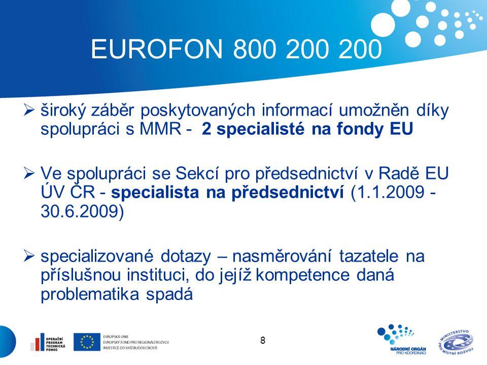 8 EUROFON 800 200 200  široký záběr poskytovaných informací umožněn díky spolupráci s MMR - 2 specialisté na fondy EU  Ve spolupráci se Sekcí pro předsednictví v Radě EU ÚV ČR - specialista na předsednictví (1.1.2009 - 30.6.2009)  specializované dotazy – nasměrování tazatele na příslušnou instituci, do jejíž kompetence daná problematika spadá